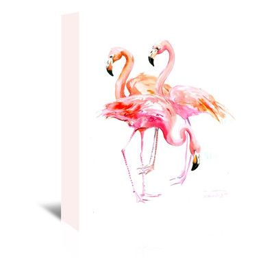 "Bay Isle Home Flamingo Original Painting on Wrapped Canvas Size: 14"" H x 11"" W x 1.5"" D"