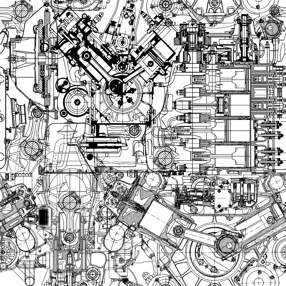 Drawing Engine Seamless Pattern Seamless Patterns Mechanical Art Engineering