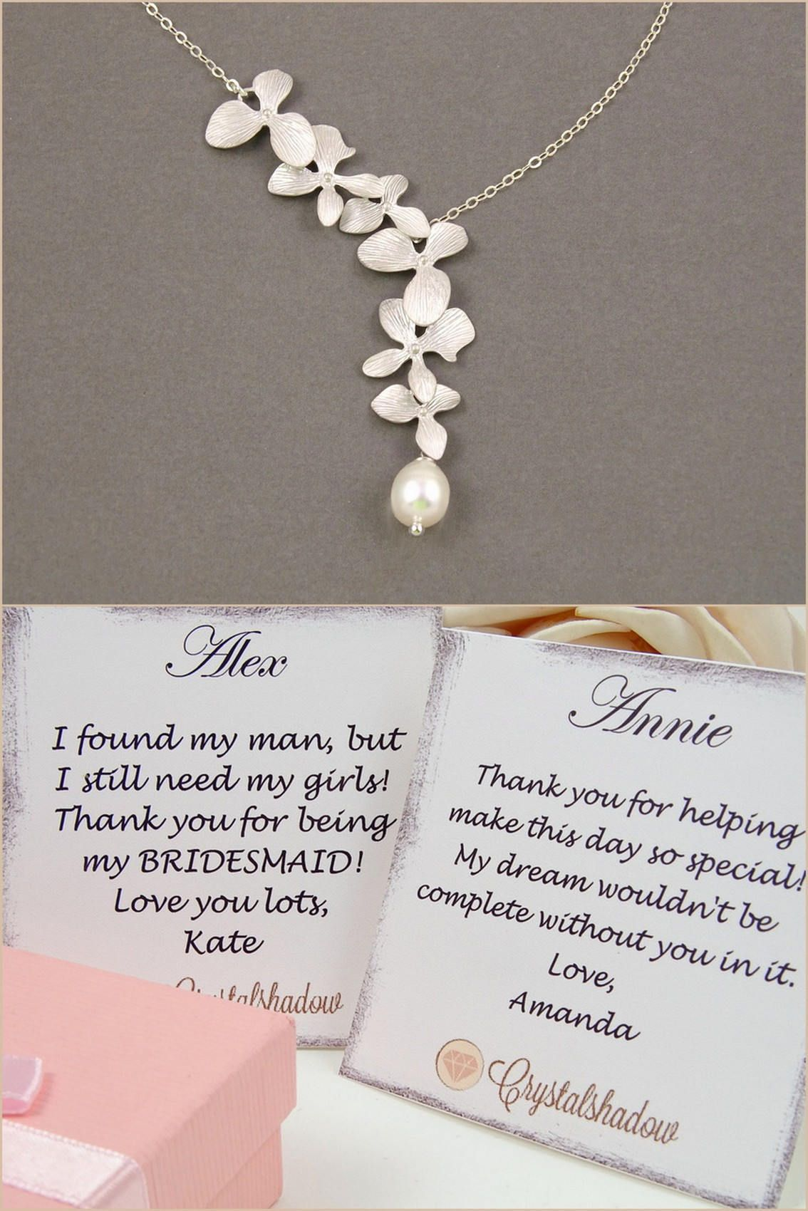 Silver Lariat Necklace Orchid Flower Jewelry Pearl Wedding Gift Ideas 21st Birthday Special Gifts Female