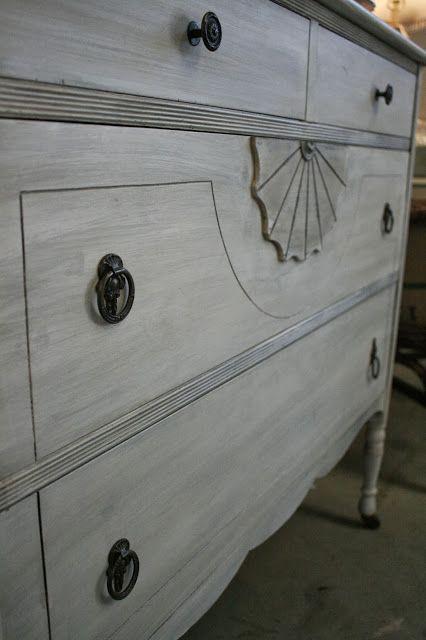 Whitewashed Vintage Dresser White Washed Furniture Gray Painted