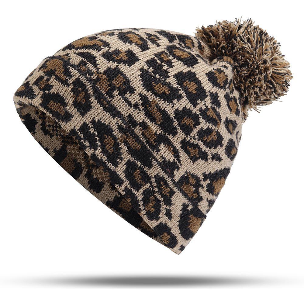 689ef2ff2eaf9 Women Winter Leopard Print Pompoms Knitted Beanie Hat  Print  Hat  Leopard   Beanie