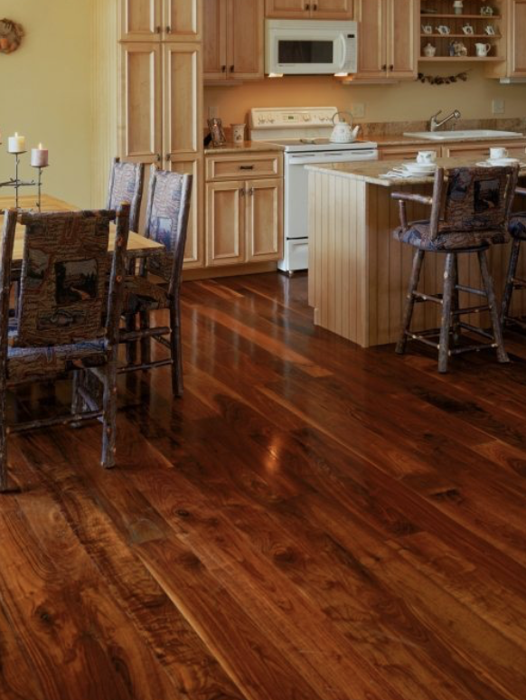 Kitchen With Walnut Flooring Walnut Is A Sumptuous Dark Wood Floor With Rich Chocolate Hues Surprising Auburn U Wide Plank Flooring Flooring House Flooring