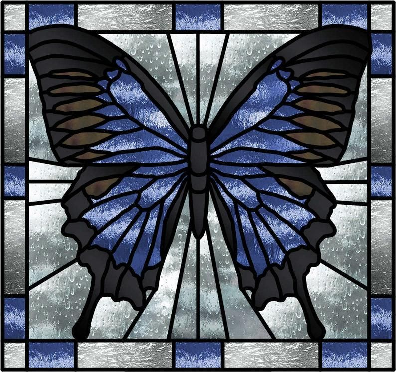 Blue Butterfly Stained Glass Pattern -   beauty Art stained glass
