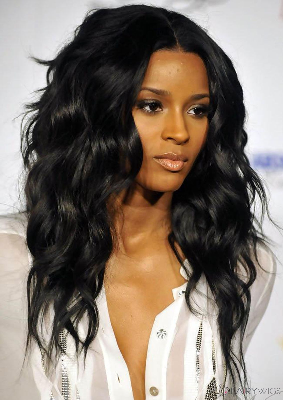 Faddish Long Wavy Black African American Lace Wigs for Women