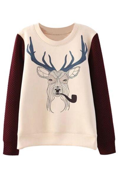 Prank Reindeer Pattern Paneled Sweatshirt