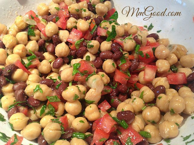 A super healthy, delicious and great make ahead recipe using garbanzo beans (chick peas), beans and a great herb dressing | MmGood