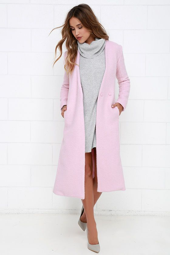 Streetlight Soiree Light Pink Coat at Lulus.com! | My style ...