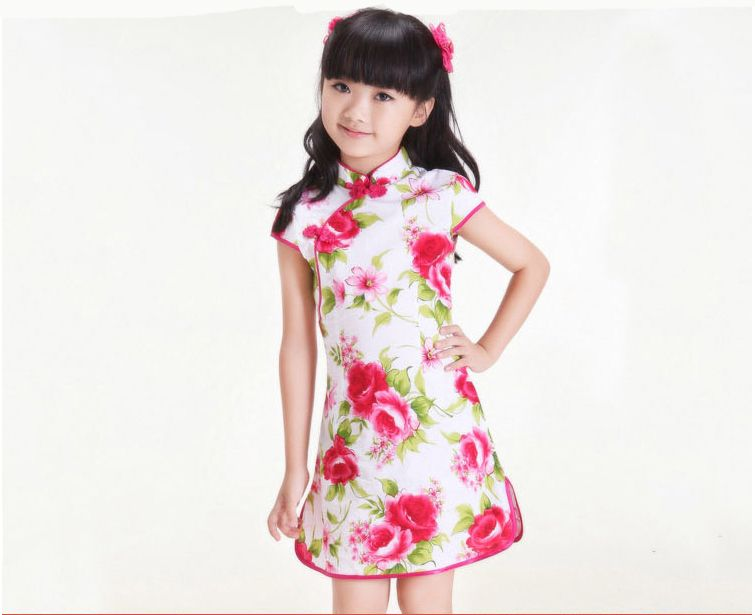 Vintage Chinese Qipao Baby Girls Kids Floral Flower Cheongsam Dress Clothes New