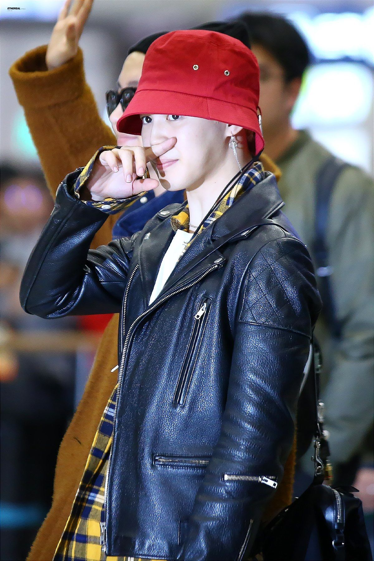 Pin By Toni On Bts Park Jimin Red Leather Jacket Hat Fashion Leather Jacket [ 1800 x 1200 Pixel ]
