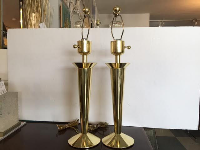 Pair modern brass lamps in the manner of tommi parzinger by floridamodern33405 on etsy
