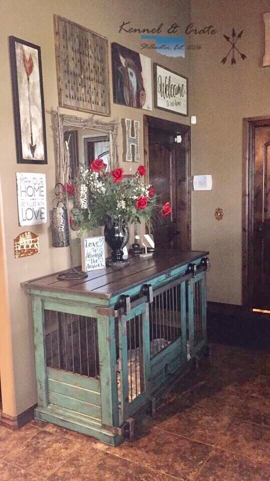Large Double Indoor Dog Kennel. All Doubles Come Standard With An Interior  Dividing Door. This Is Perfect For An Entry Table, Entertainment Stand, ...