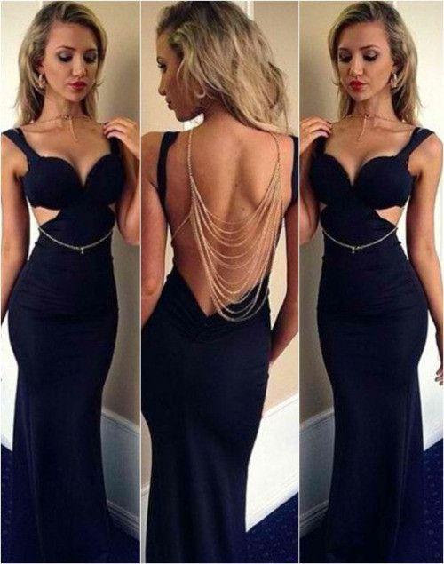 Western Design Dark Blue Spaghetti Straps Backless Sheath Long Formal Evening Dresses Floor Length Prom Party Dress