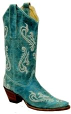 Corral Ladies Turquoise Cortez Cleff Embroidery Boot I LOVE THESE