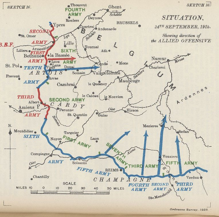 Map of the plan for the Allied Offensive in France showing