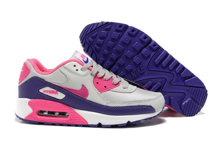 Womens Nike Air Max 90 Hyperfuse Light Grey Purple Pink Shoes Nike Air Max Nike Air Max White Nike Air Max For Women