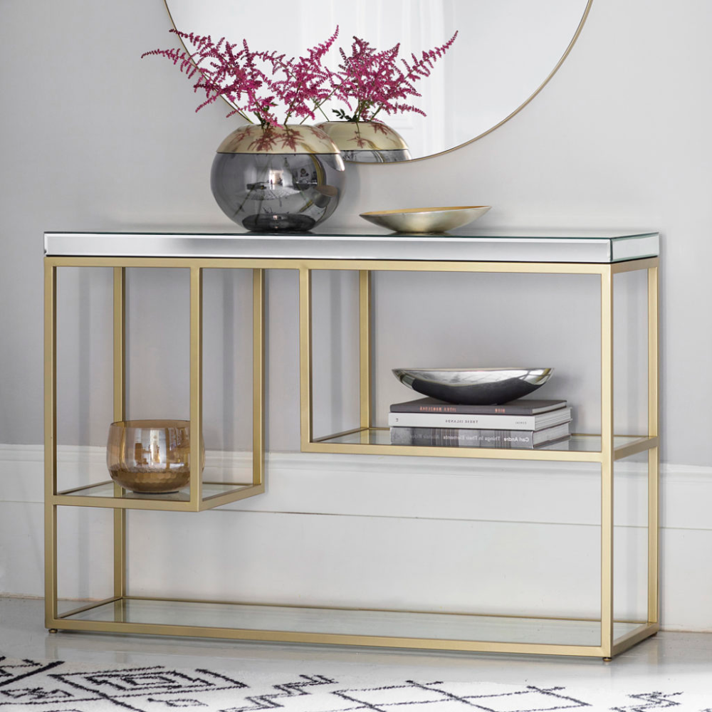 Champagne Gold Mirrored Console Table