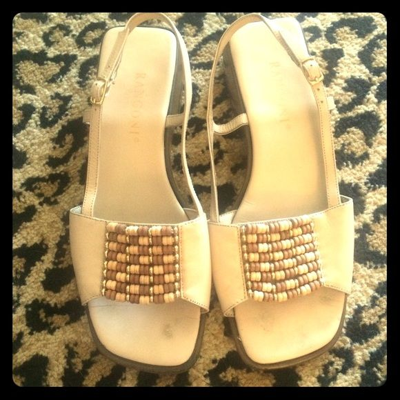 Rangoni sandals! Cream beige leather strap sandals. Square detail front with beads. Rangoni Shoes Sandals
