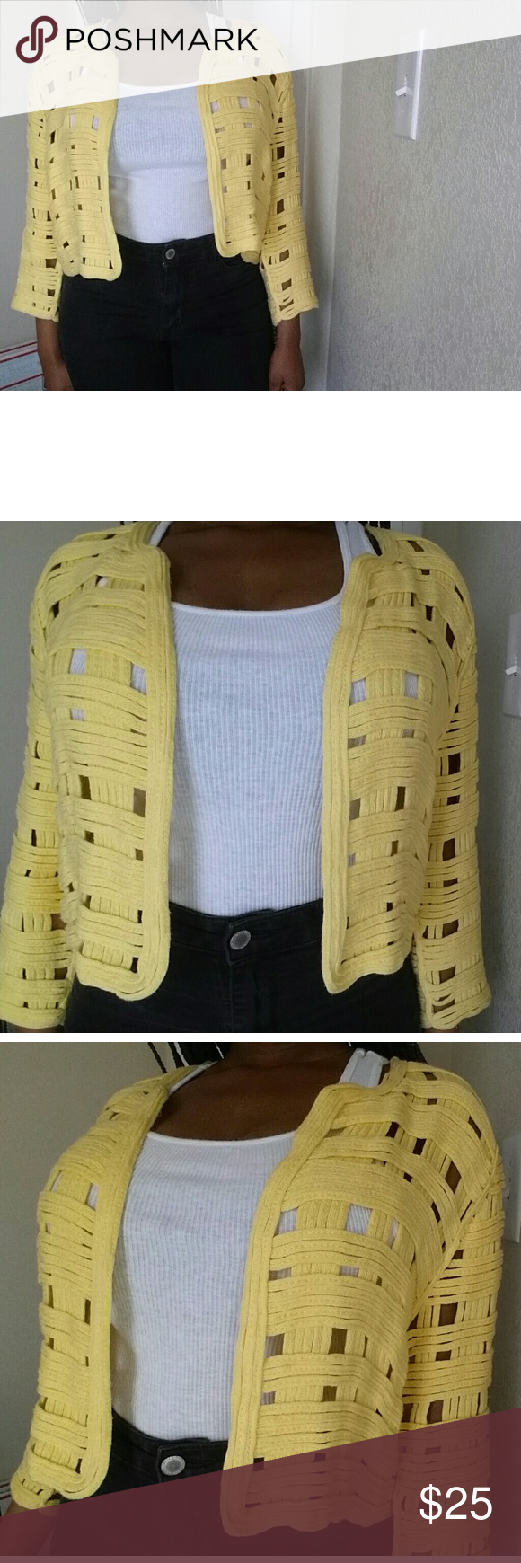 Chico's Yellow Cardigan This is a yellow cardigan from Chico's. This Cardigan is super chic! In great condition (like new) !  Feel free to make an offer. No trades. Please don't advertise your closet. Chico's Sweaters Cardigans