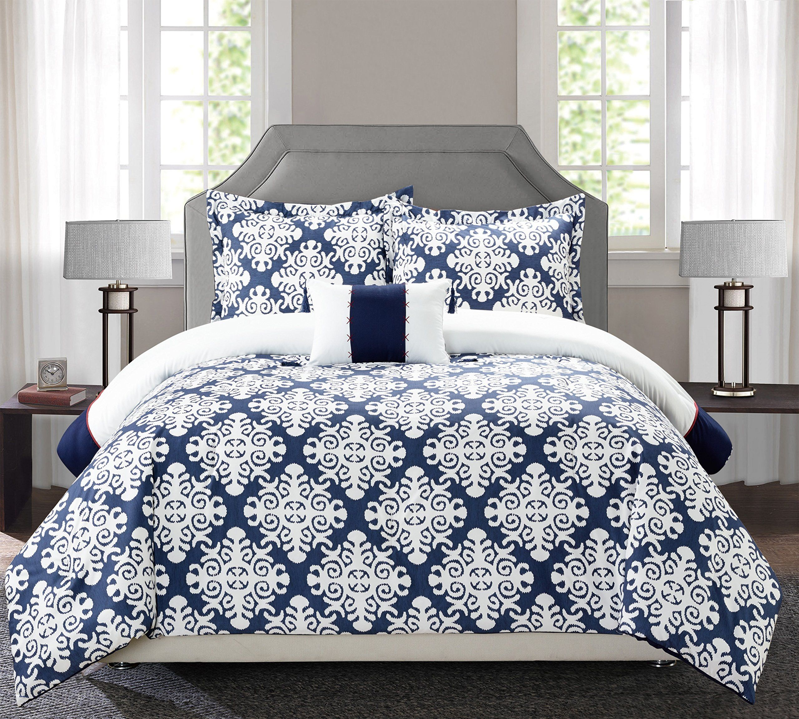 Perfect Home 4 Piece Floyd Navy Blue And White Reversible Hotel Collection King Duvet Cover Set Navy Clic Duvet Cover Sets Navy Duvet Covers Blue Duvet Cover