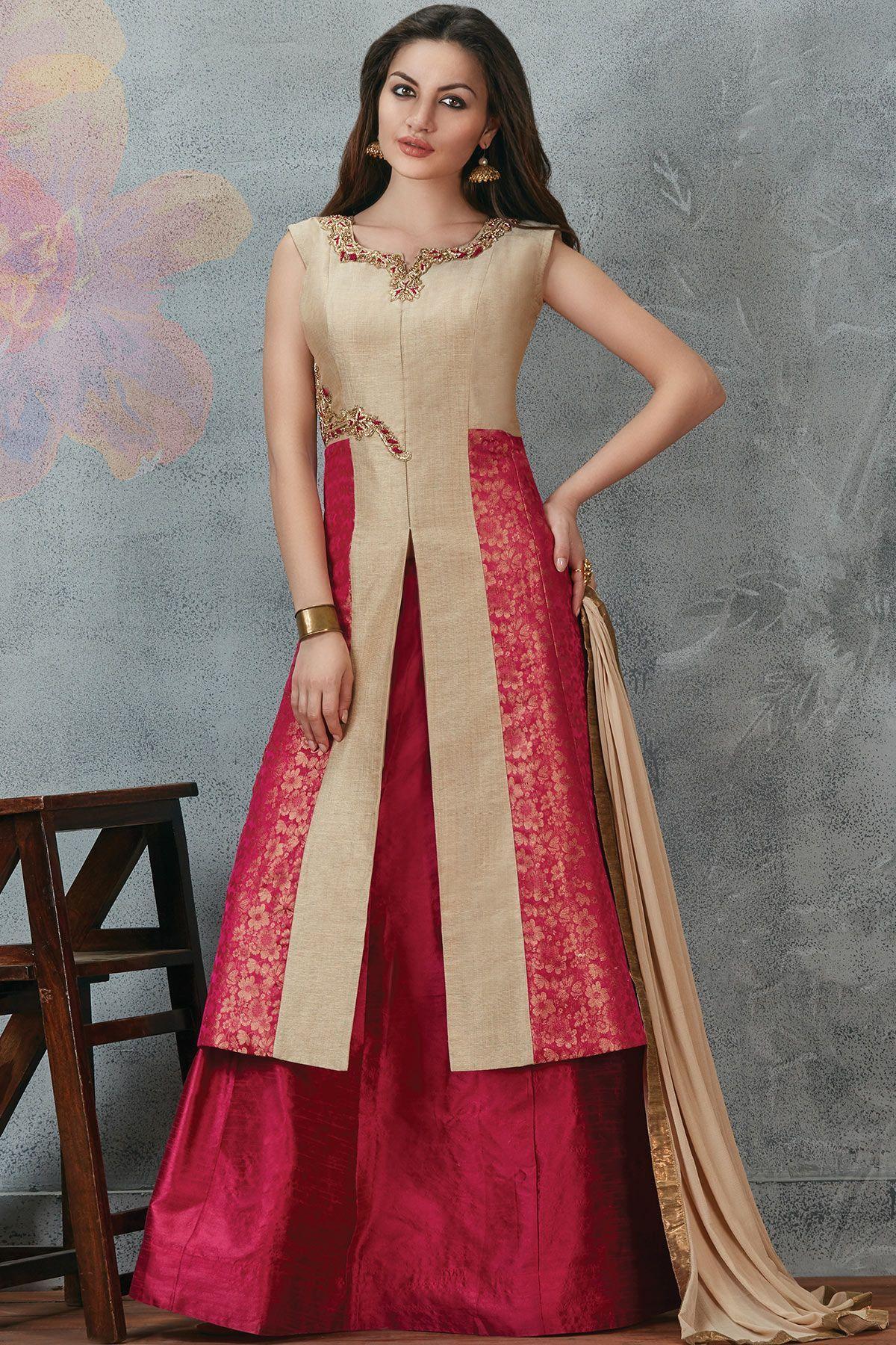 Beige u pink raw silk zari embroidered designer salwarsl