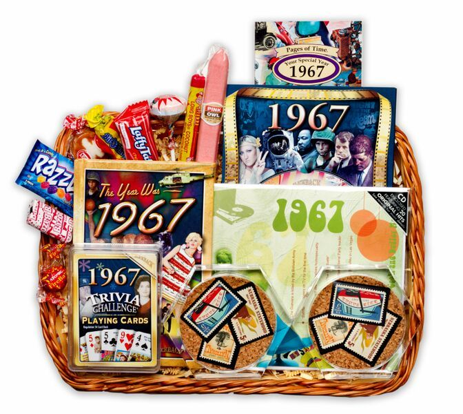 50th Wedding Anniversary Gift Basket With 1967 Or 1968 Stamps