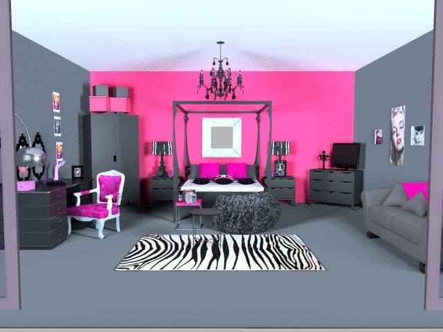 Needs A Bit More Zebra Print And It Would Be An Awesome Bedroom For A Teen Or Young Adult How About Making The Grey Walls Zebra