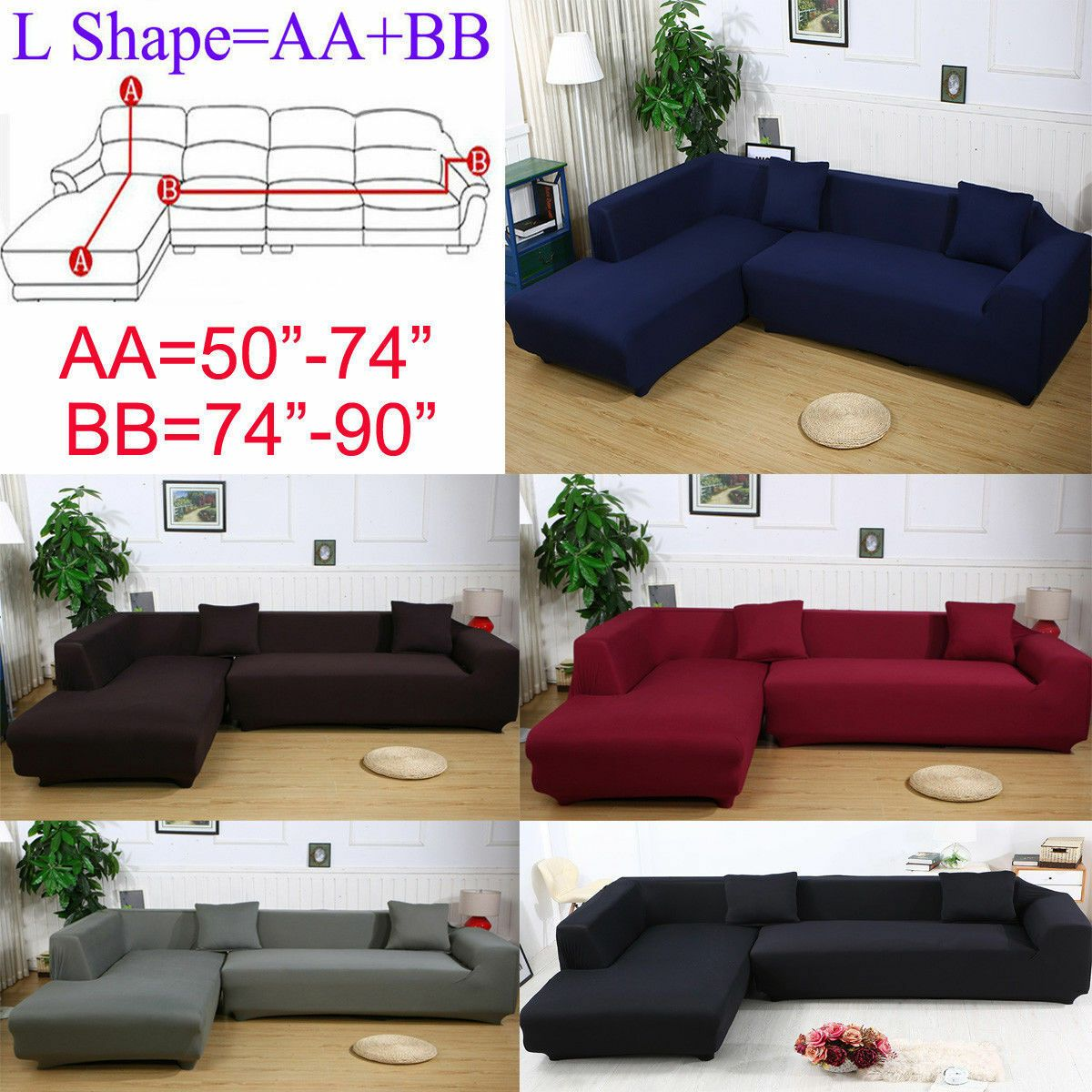 2 Seats 3 Seats Plush Stretch L Shaped Sectional Sofa Slip Covers Set Sofa Set Sofaset In 2020 Fabric Sofa Cover Sectional Sofa Slipcovers Sofa Covers