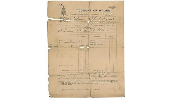 A rare pay slip from a surviving crewman for his six days of service aboard the Titanic.