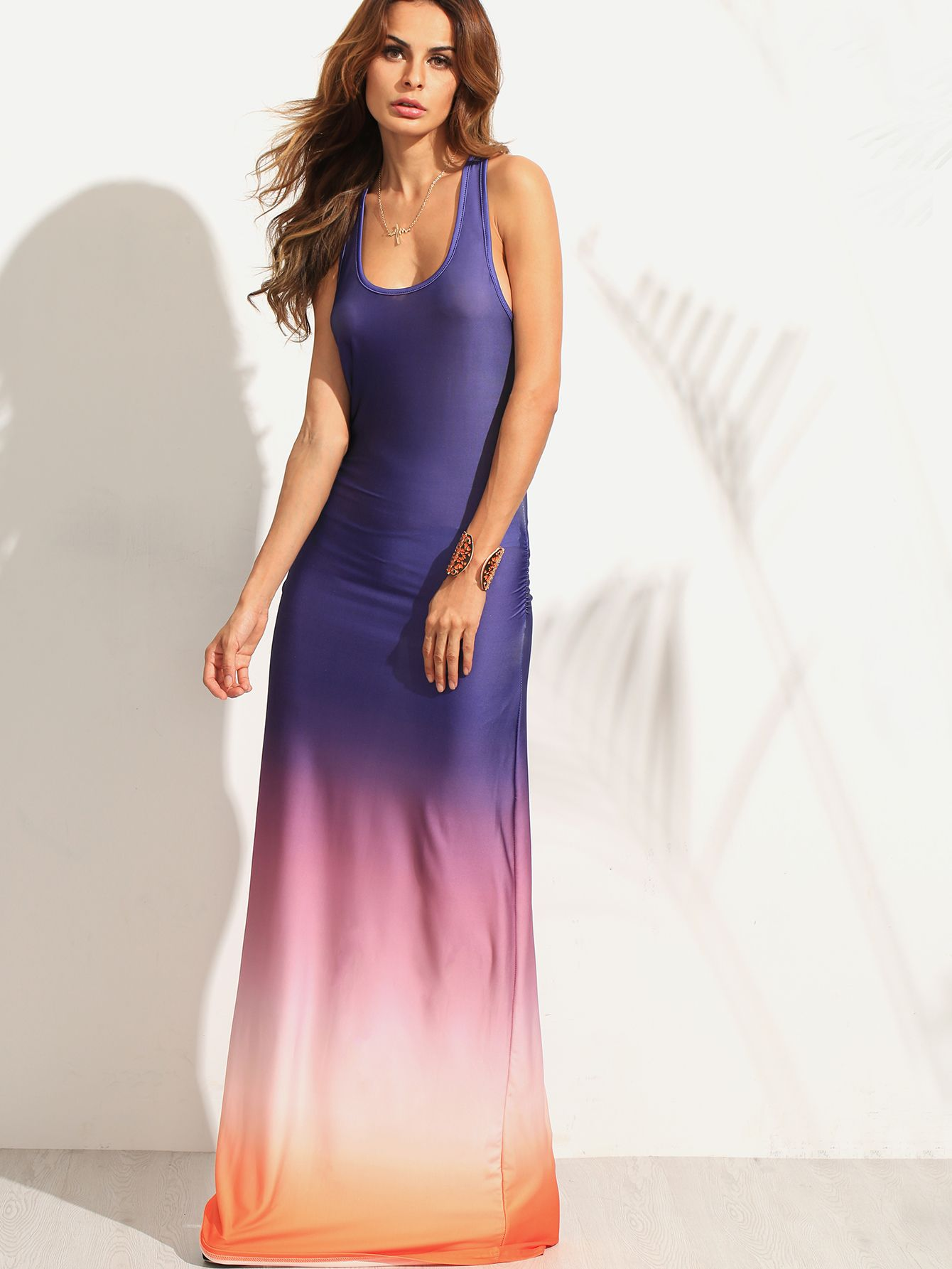 Shop Multicolor Ombre Ruched Racerback Maxi Tank Dress online. SheIn offers Multicolor Ombre Ruched Racerback Maxi Tank Dress & more to fit your fashionable needs.
