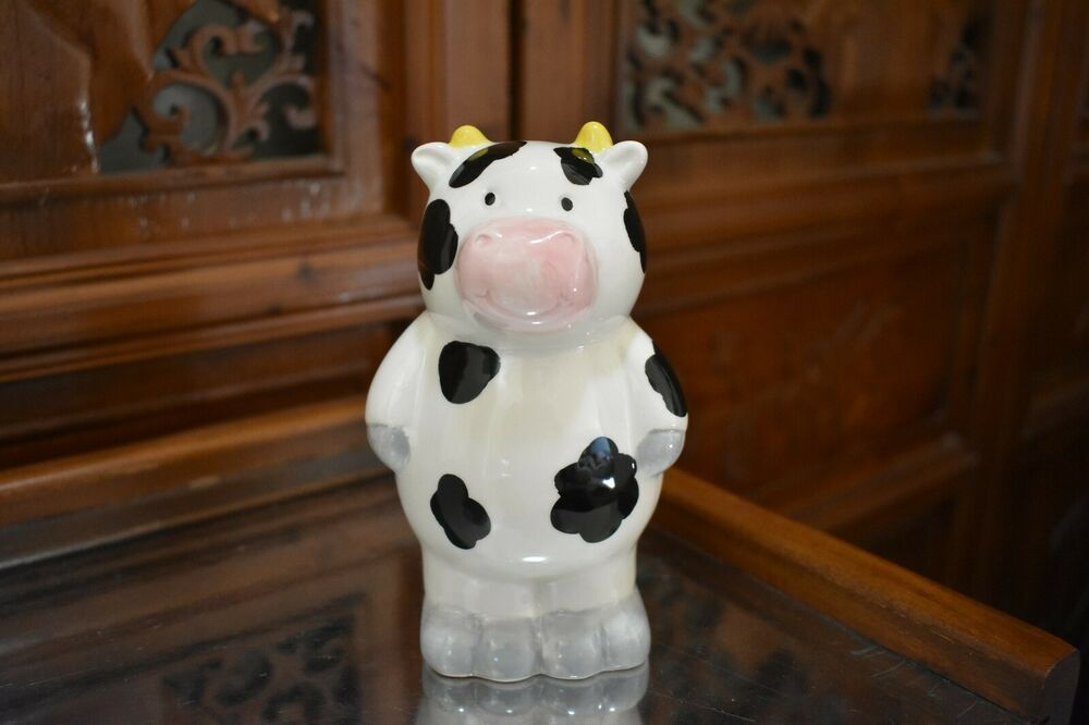Adorable Cow Piggy Bank Black And White Standing Cow Piggy Bank Cool Cows Piggy Bank Cow Ebay