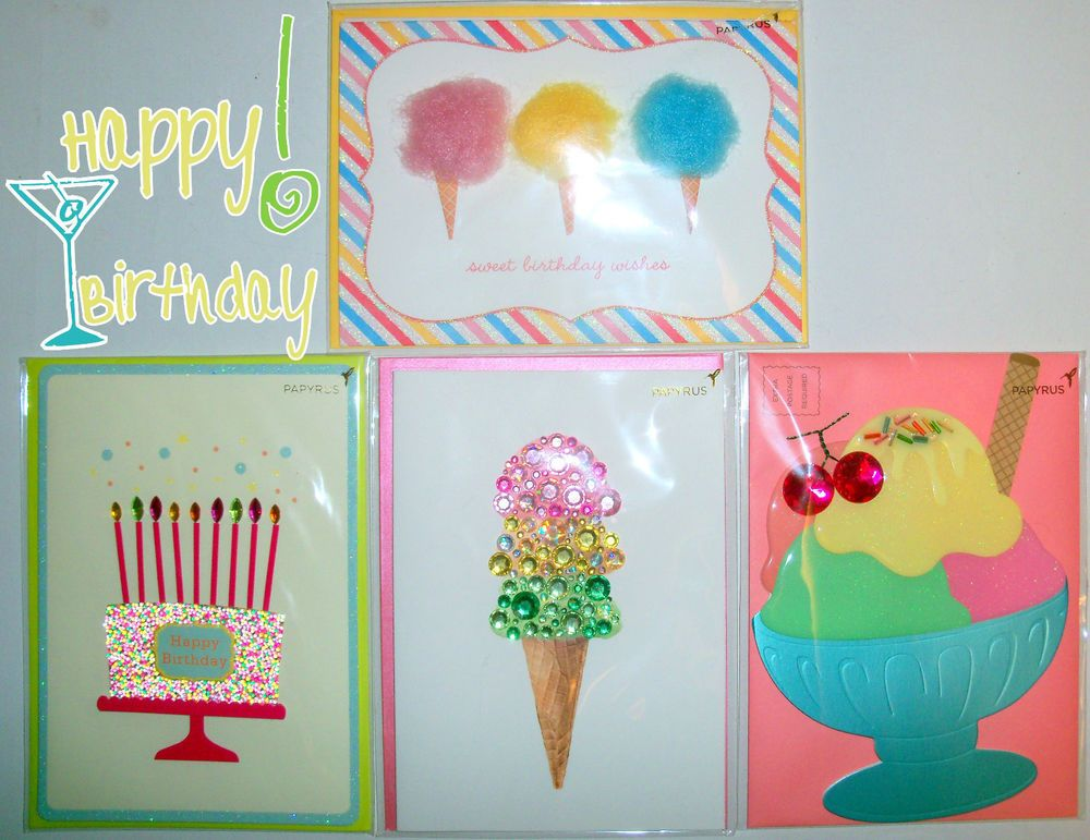 4 New PAPYRUS Birthday Cards For Her Gemstone & Fuzzy Ice