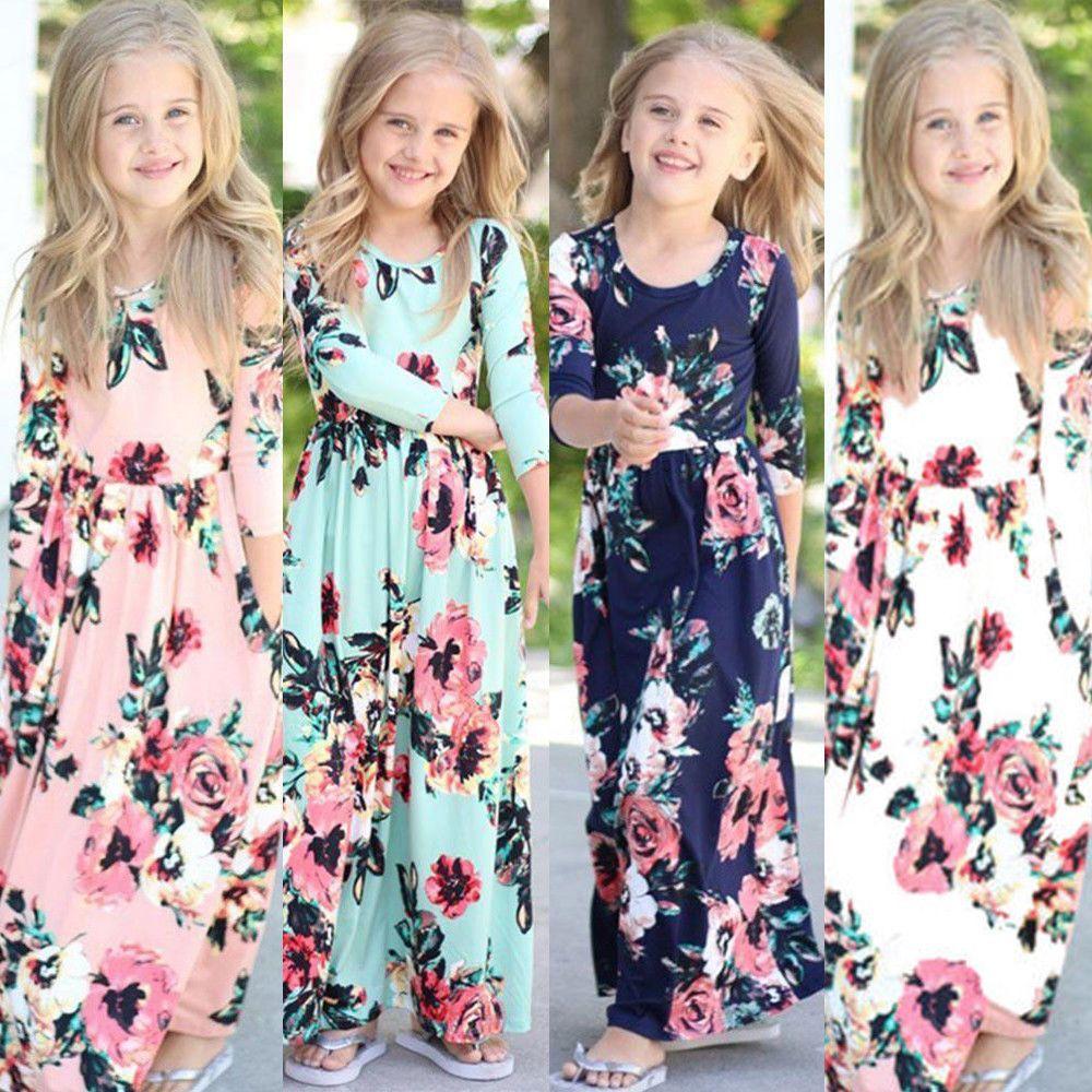 Us canis kids baby girl fashion boho long maxi dress long sleeve