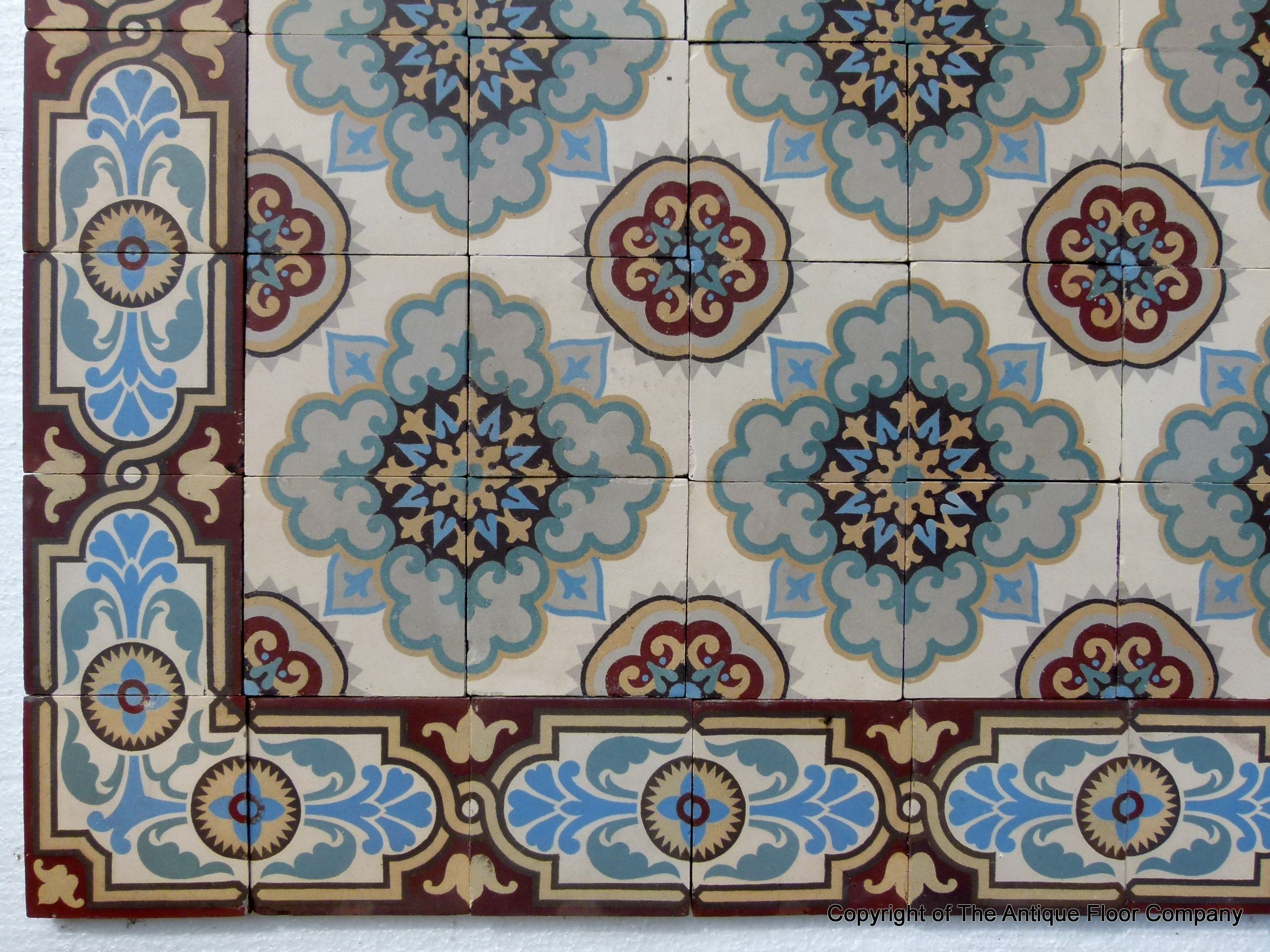 12m2 Antique French ceramic floor with original same size borders ...