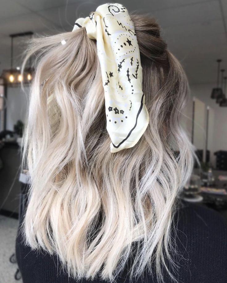 Short blonde hair with ribbon #blondehair