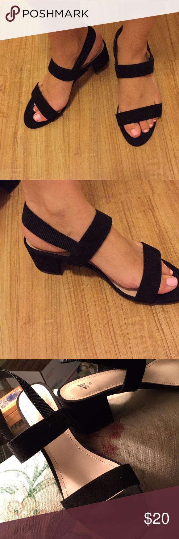 H M Black Suede Block Heeled Sandals H M Black Suede Block Heeled Sandals Only Worn Once Just A Bit To Suede Block Heels Block Heels Sandal Sandals Heels