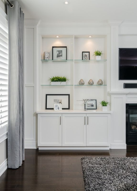 LOVE THE IDEA OF GLASS SHELVES AND LIGHTING, CABINETS
