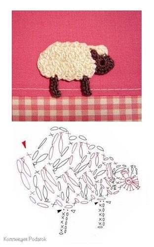 Crochet Sheep Applique pattern free