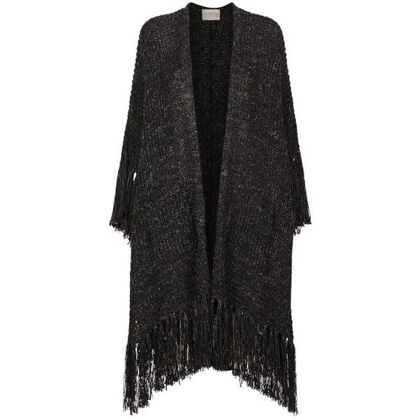 Denim & Supply Ralph Lauren Fringe Poncho (23.635 RUB) ❤ liked on Polyvore featuring outerwear, chunky knit poncho, wrap poncho and fringe poncho