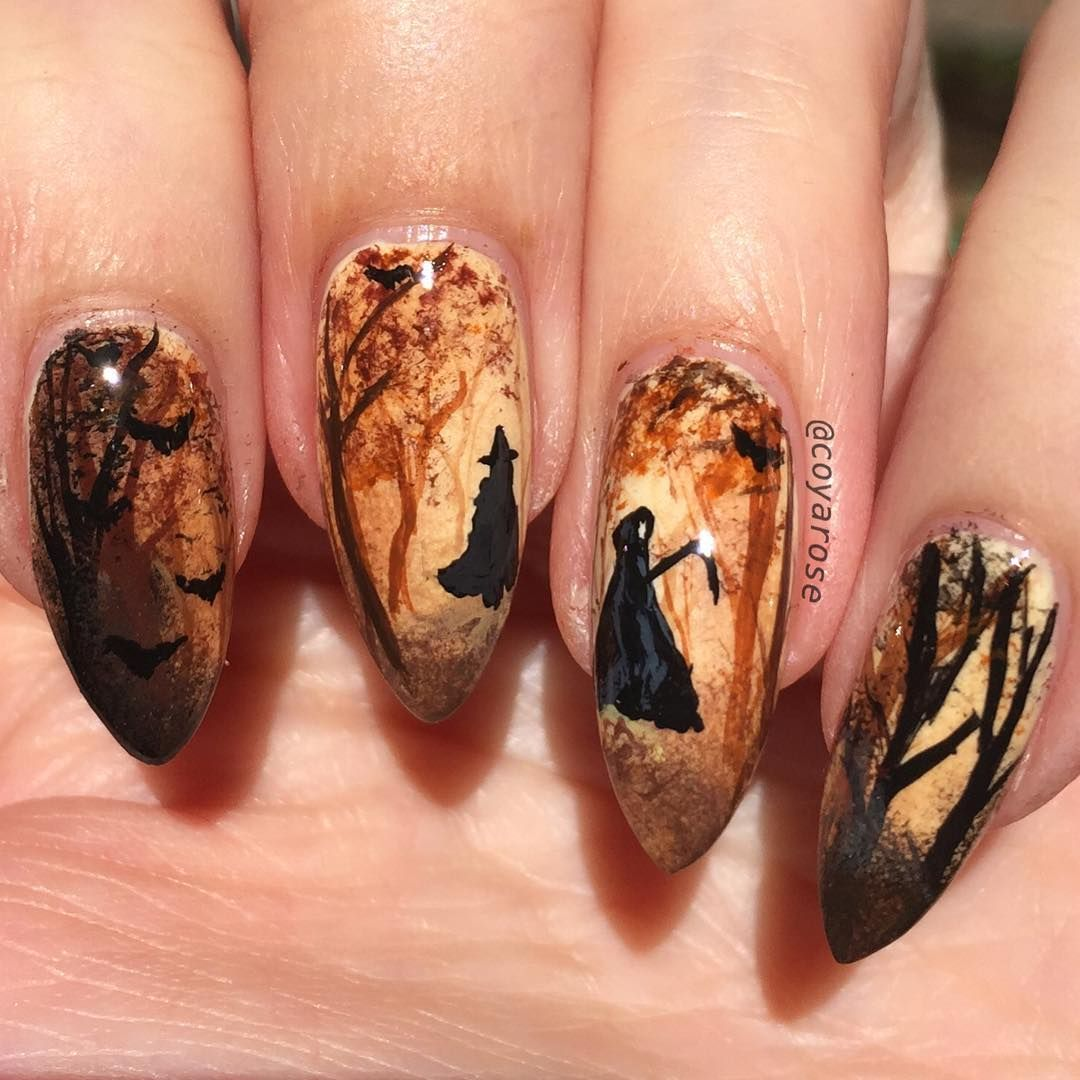 Fall Forest Spooky Witch Bat Halloween Nails Nail Art Nails