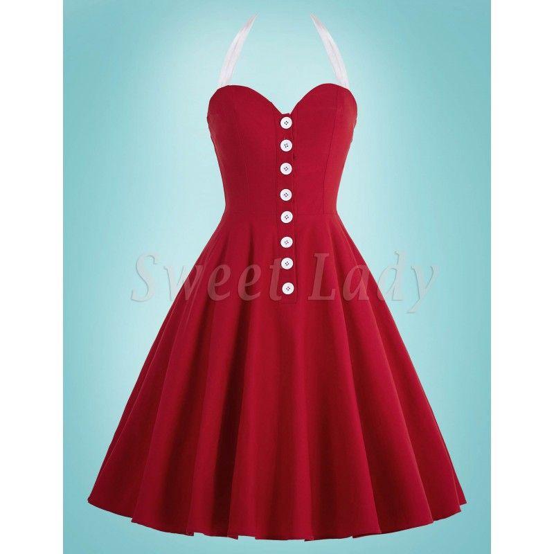 b1c535b01277 Roztomilé červené šaty v štýle vintage