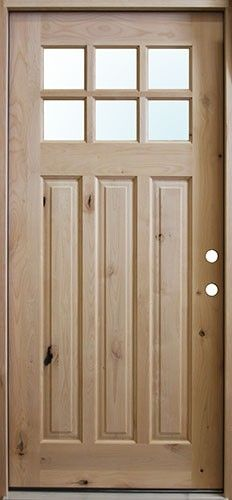 Craftsman 6 Lite Knotty Alder Wood Entry Front Door