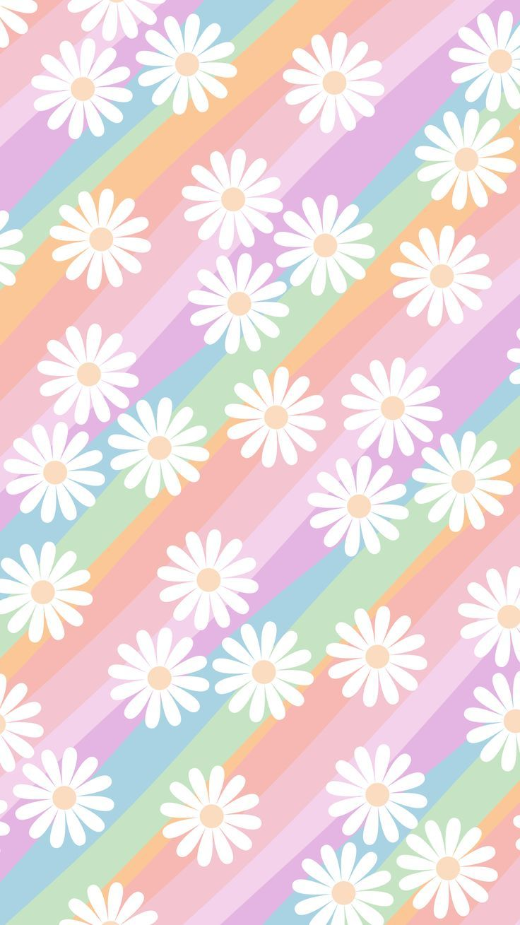 Phone Wallpaper/ background. 'rainbow background with daisy print'