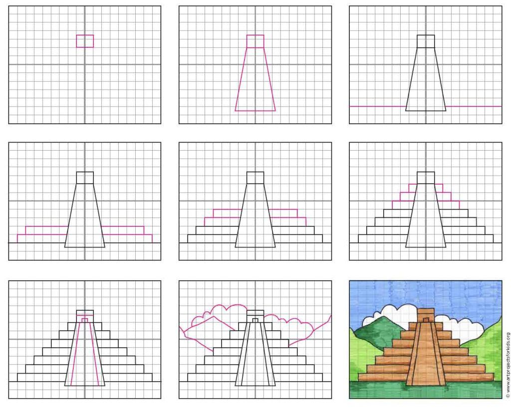 Draw A Mayan Temple For Cinco De Mayo Art Projects For