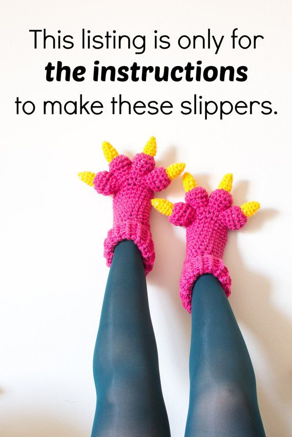 Monster Slippers CROCHET PATTERN PDF, Kids Womens Mens Adult Crochet ...