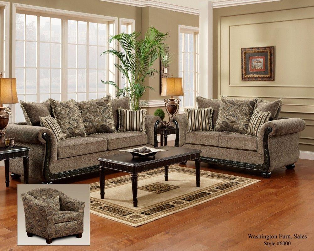 6000 Dream Java Sofa Loveseat Living Room Sets Furniture