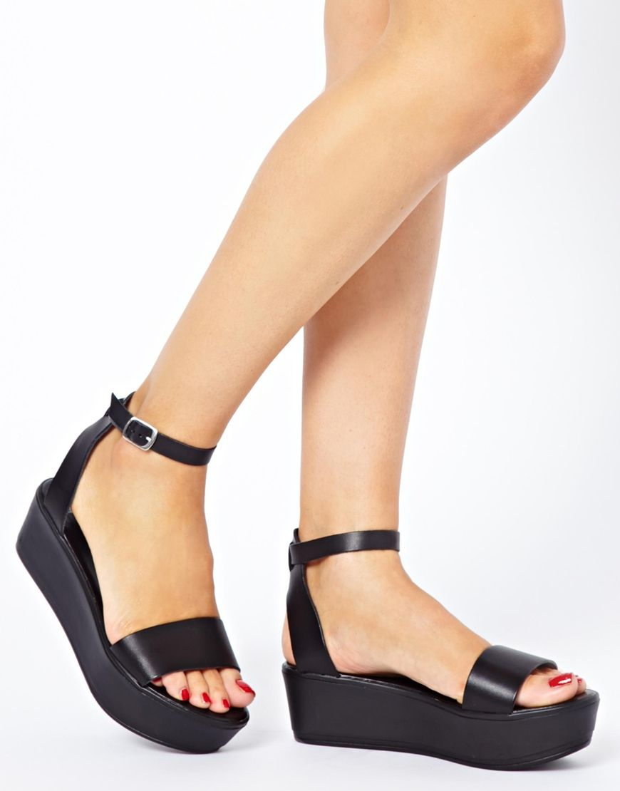 Image 3 of ASOS JUMP Leather Flatform Sandals  b24302319f2a