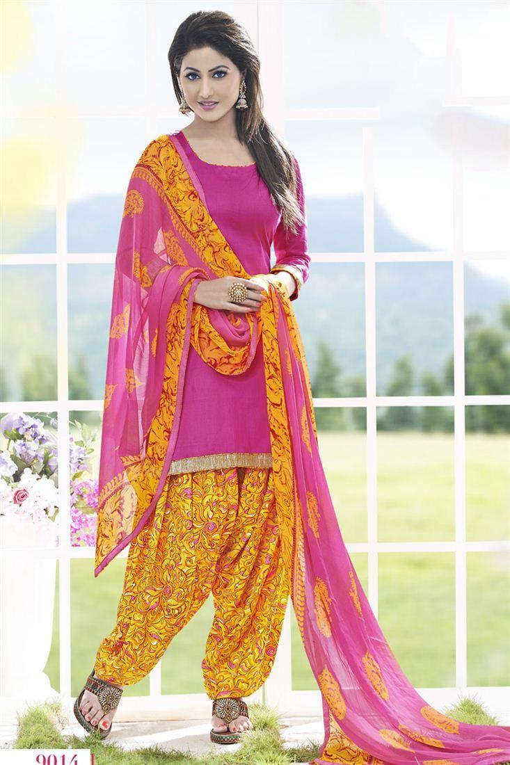 Hina Khan Pink Color Cotton Patiala Suit
