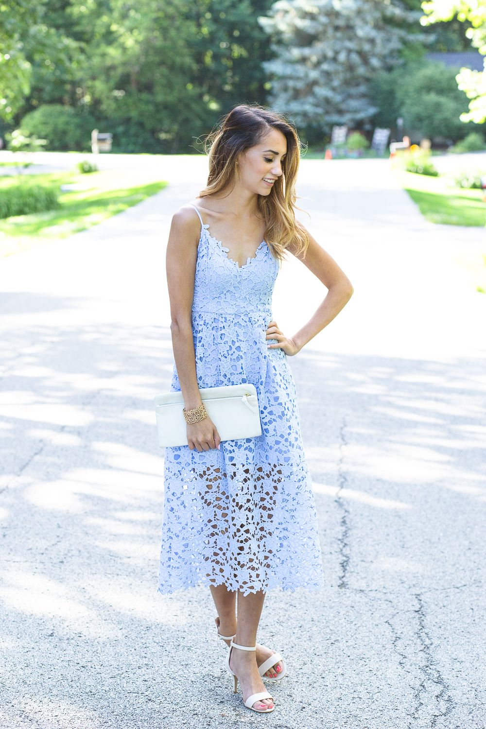 Blue Lace Wedding Guest Dress From Nordstrom Nude Ankle Strap