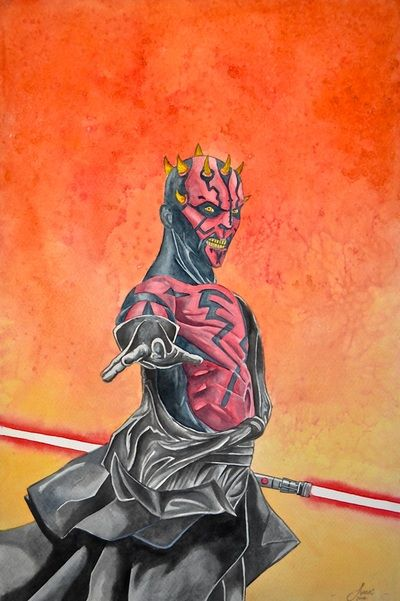 """""""Jedi Slayer"""" 12'' x 18''. paper mounted on wood. watercolor."""