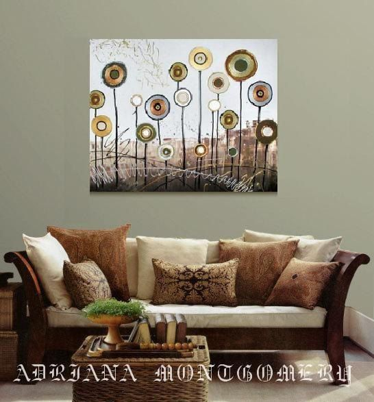 ORIGINAL ABSTRACT Acrylic Painting-Autumn Taupe Gold Silver Landscape Metallic Flowers Trees - 36 x 24 Modern Fine Art on Stretched Canvas
